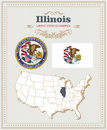 High detailed vector set with flag, coat of arms, map of Illinois. American poster. Greeting card
