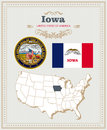 High detailed vector set with flag, coat of arms, map of Iowa. American poster. Greeting card Royalty Free Stock Photo