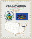 High detailed vector set with flag, coat of arms, map of Pennsylvania. American poster. Greeting card