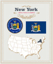 High detailed vector set with flag, coat of arms New York. American poster. Greeting card Royalty Free Stock Photo