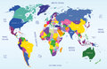 High detailed world map with coutries names coloured Stock Image