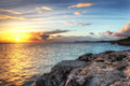 High dynamic range hdr caribbean sunset iamge of Royalty Free Stock Images