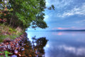 High dynamic range hdr north woods sunrise image of along lake shore Royalty Free Stock Photos