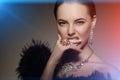 High fashion model girl beauty woman high fashion vogue style po portrait beautiful fashionable luxury lady precious jewelry Stock Photography