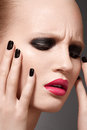 High fashion model with make-up and nails manicure Stock Photos
