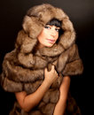 High fashion model wearing  fur vest Stock Photo