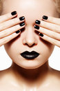 High fashion style, manicure. Black lips & nails Royalty Free Stock Photo