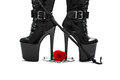 High heel boots with whip rose and handcuffs Stock Image