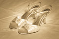 High heel shoes and pearls an elegant set of open toe with a string of vintage Royalty Free Stock Photography