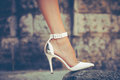 High heel shoes woman leg in outdoor shot Royalty Free Stock Images