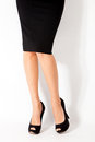 High heel shoes woman legs in and black skirt Stock Photography