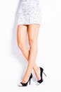 High heel shoes woman legs in elegant black and silver studio shot Royalty Free Stock Photography