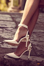 High heel shoes woman legs in outdoor shot Royalty Free Stock Photos
