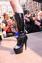 High heeled latex boots on the catwalk Royalty Free Stock Images