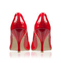 High-heeled shoes classic style red. Rear view. Royalty Free Stock Image