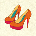 High heeled vintage shoes with flowers fabric high heels backgr background place for you text Royalty Free Stock Photos