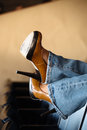 High heels and blue jeans Royalty Free Stock Images