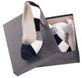 High heels in a box isolated Stock Photo