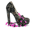 High heels shoe and necklace Royalty Free Stock Photo