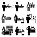 High income professional jobs occupations careers a set of pictograms showing the professions of people in the profile and Stock Photo