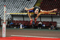 High jump athlete male performing during discipline at romanian international atheltics championship stefan cel mare stadium Royalty Free Stock Photos