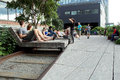 High line new york city elevated pedestrian park september people at in nyc on september th the is a public built on an historic Royalty Free Stock Photo