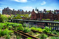 High line new york city manhattan urban public park on an historic freight rail Stock Image