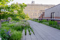 High line park new york circa may the circa may the is a popular linear built on the elevated train tracks Stock Photos