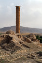 High minaret and ruins in hasankeif turkey Stock Photos