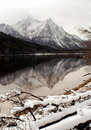 High mountain lake in winter Sawtooth Range Royalty Free Stock Photo