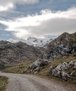 High mountain road landscape beside the situated in asturias spain you can see snow in the background in a cloudy day it s a Stock Photos