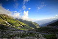 High mountain valley and rock field  in Northern India Royalty Free Stock Photo
