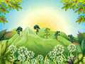 High mountains at the forest illustration of Royalty Free Stock Image