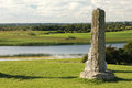 High North Cross and river shannon. Clonmacnoise. Ireland Royalty Free Stock Photo