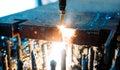 High precision CNC gas cutting metal sheet Royalty Free Stock Photo