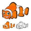 High Quality Common Clownfish Cartoon Character Include Flat Design and Line Art Version Royalty Free Stock Photo