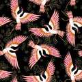 High quality crane japanese seamless pattern with graphic elements for printing on fabric