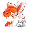High Quality Fantail Goldfish Cartoon Character Include Flat Design and Line Art Version Royalty Free Stock Photo