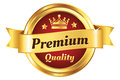 High quality golden badge authentic premium guarantee Royalty Free Stock Photos