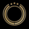 High quality metal badge template with laurel wreath and stars,