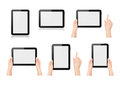 High quality set digital tablets different positions both vertical horizontal held no one two hands one hand pointing white Royalty Free Stock Photos