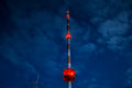 High radio tower at night Royalty Free Stock Photo