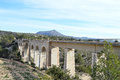 A high railway bridge viaduct in the spanish mountains Stock Photo