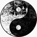 High res, Yin yang moonlight tree in black and white illustration in silhouette Royalty Free Stock Photo