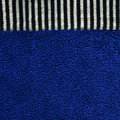 Cotton Fabric Texture - Blue with Black & White Stripes Royalty Free Stock Photo