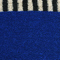 High resolution close up of blue cotton fabric with a zebra crossing black white line crossing it horizontally Stock Photos