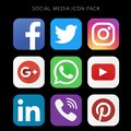 High resolution collection of social media icon pack with black background.