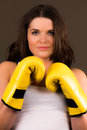 A high resolution image of a beautiful female boxer Royalty Free Stock Photography