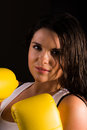 A high resolution image of a beautiful female boxer Royalty Free Stock Photos