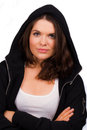 A high resolution image of a beautiful female trainer with hooded jumper Royalty Free Stock Photography